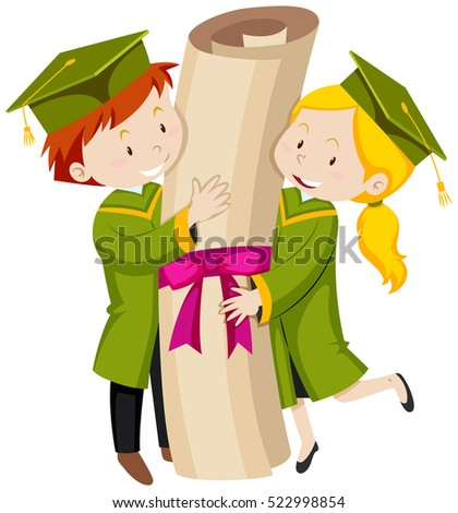 Man and woman in green graduation gown illustration
