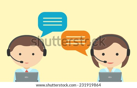Man and woman in headset. Call center concept - stock vector