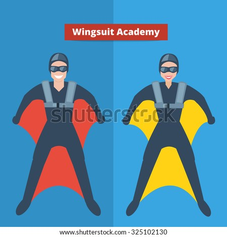 Man and woman in wingsuit costume. Vector flat illustration.Wingsuit academy concept.
