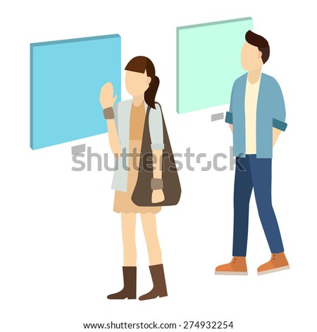 Man and woman inside a museum a vector illustration isolate on white background. - stock vector