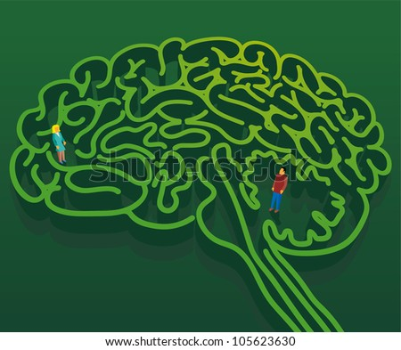 Man and Woman into a brain shape maze. Psychological concept about man and woman relationship - stock vector