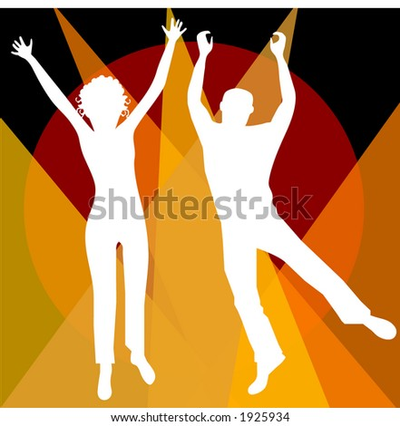 man and woman jumping illustration vector - stock vector