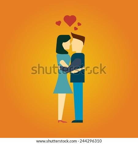 man and woman kiss. hug. flat style. vector illustration - stock vector