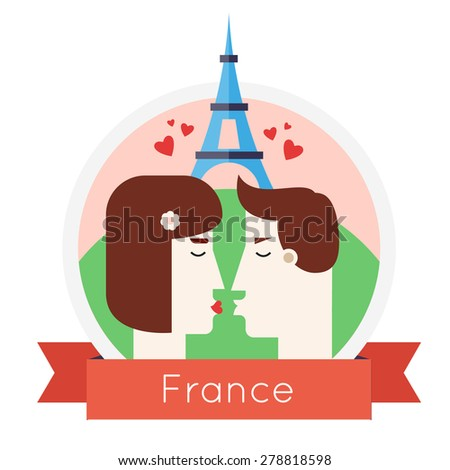 Man and woman kissing near Eiffel Tower in France. Lovers, honeymoon. Paris. Flat style. - stock vector