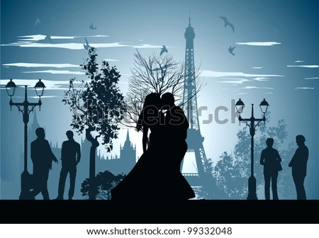 man and woman kissing on a street in Paris - stock vector
