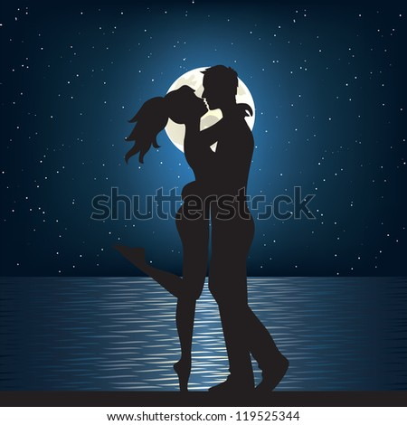 Man and woman kissing on the sea at night. - stock vector
