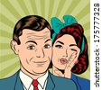 Man and woman love couple  in pop art comic style, vector illustration - stock