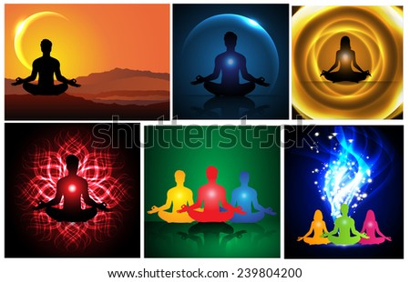 man and woman meditation abstract background. yoga. many. various. - stock vector