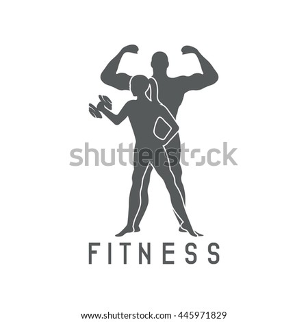 man woman fitness silhouette character vector stock vector 445971829
