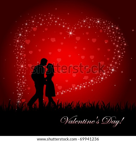 Man and Woman on Heart background, illustration