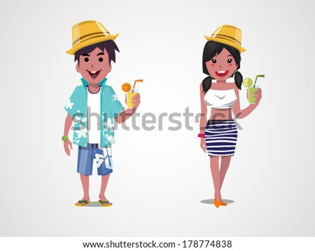man and woman on the beach. Summer. Sea. Vacation. - stock vector