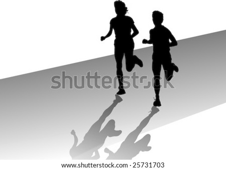 man and woman out jogging - stock vector