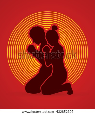 Man and Woman pray together designed on circle light background graphic vector