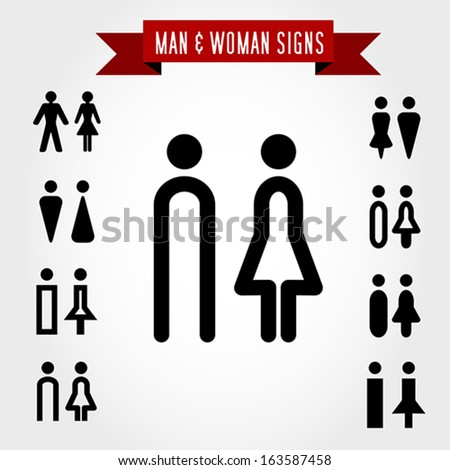 man and woman signs, concept of symbols - stock vector