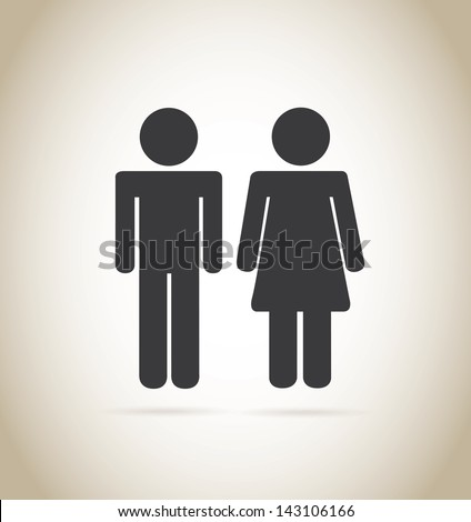 man and woman silhouette over beige background vector illustration