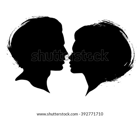 Man and Woman silhouettes on a white background. Black ink brash faces profiles in vector. Couple kissing - stock vector