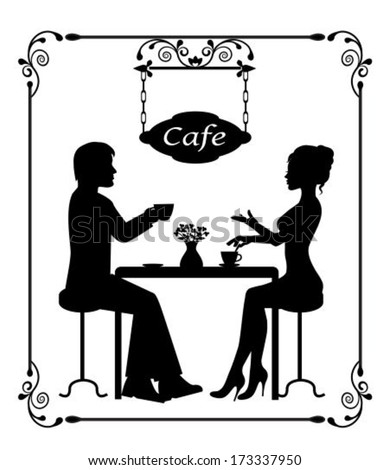 Man and woman sitting in a cafe. Two silhouettes in vintage frame - stock vector