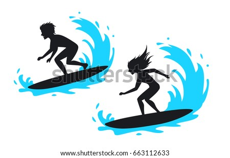man and woman surfing silhouette vector illustration