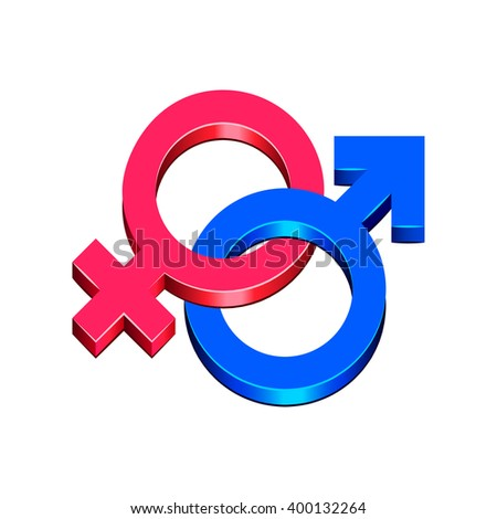 Man and woman symbol isolated on white photo-realistic vector illustration