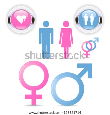 Man and woman symbol set relationship - stock vector
