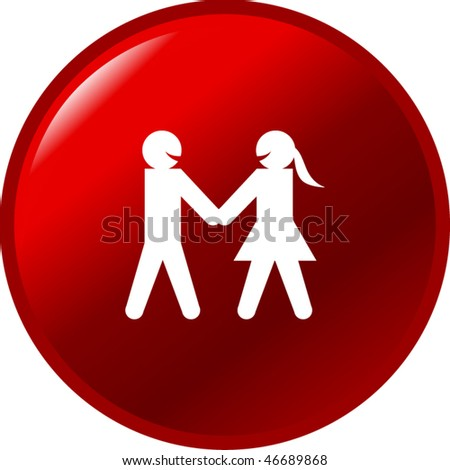 man and woman taking hands button