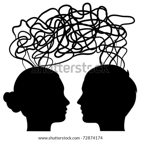 man and woman thinking on same way, idea concept, vector - stock vector