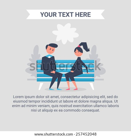 Man and woman. Vector illustration of flat style - stock vector
