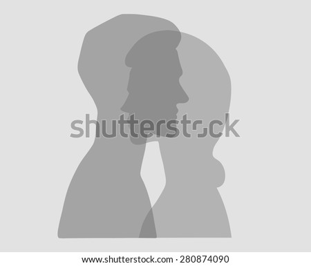Man and woman. Vector silhouette portraits of a couple. Bold graphic style, intersecting transparent layers. Relationship between man and woman. Concept illustration, vector art, logo, packaging. - stock vector