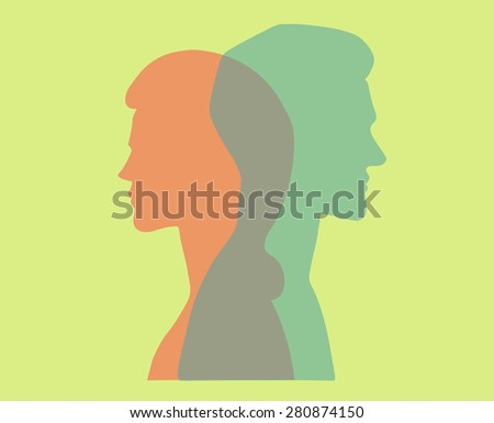 Man and woman. Vector silhouette portraits of a couple. Bold graphic style, intersecting transparent layers. Relationship, dating, marriage. Concept illustration, vector art, logo design, packaging. - stock vector
