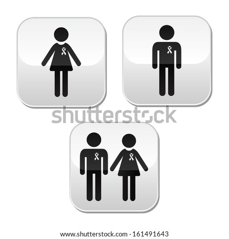 Man and woman with awareness ribbons buttons set