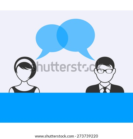 Man and woman with dialog speech bubbles - stock vector