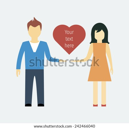 man and woman with heart, love, flat style isolated. vector illustration - stock vector