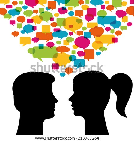 Man and woman with speech bubbles - stock vector