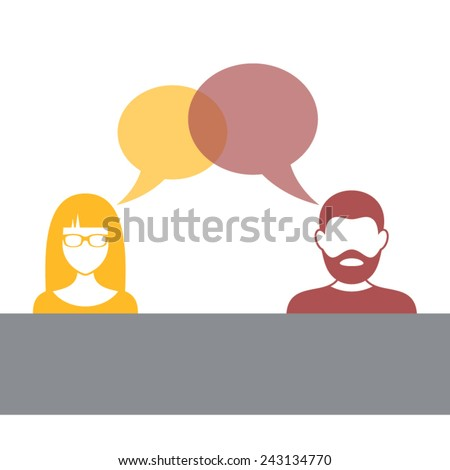 Man and woman with speech bubbles vector illustration - stock vector