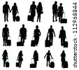 man and woman with travel bag black silhouette - stock vector