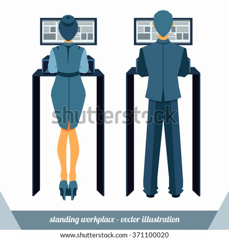 Man and woman working in a standing position workplace in front of monitor. Vector illustration.