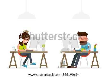 man and woman working on computer flat style cartoon. - stock vector
