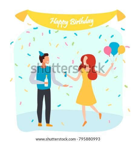 Man Women Birthday Party People Celebrating Stock Vector 795880993