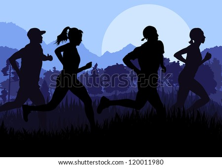 Man and women marathon runners in wild forest nature mountain landscape background illustration vector - stock vector