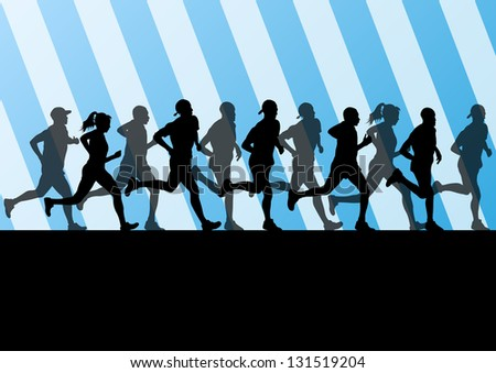 Man and women marathon runners silhouettes in sport stadium landscape background illustration vector - stock vector