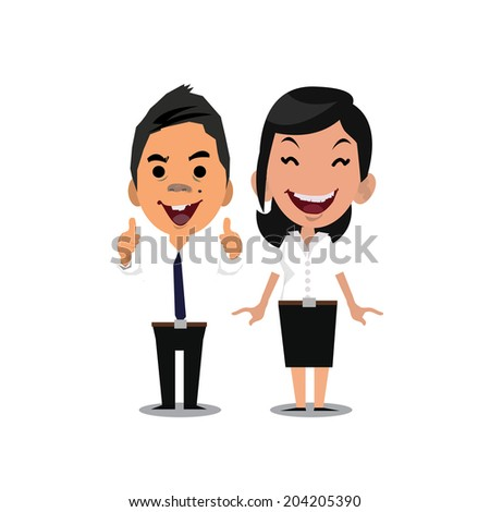 man and women with white shirt - vector illustration - stock vector