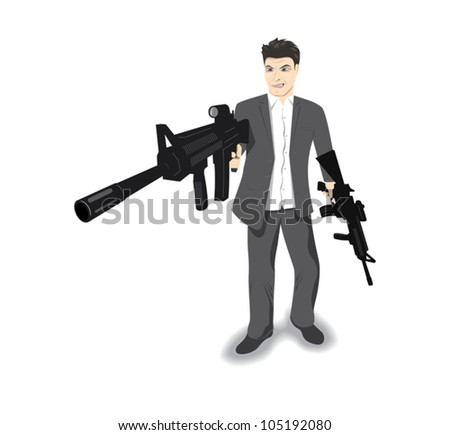 man armed with two guns - stock vector
