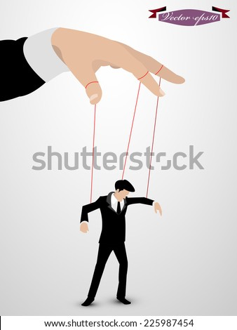 man as a marionette controlled vector - stock vector