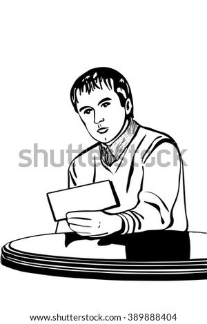 man at a table reading a note