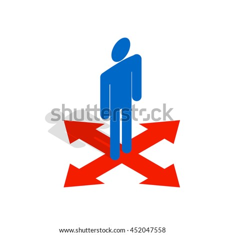 Man at crossroads icon in isometric 3d style isolated on white background. People symbol - stock vector
