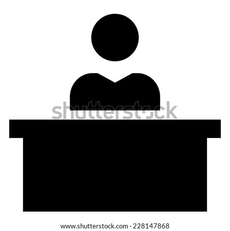 Man at desk icon - stock vector