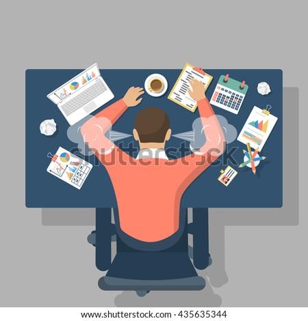 Man at desk, overwhelmed hard work. Stress at work. Fatigue at work. Vector illustration flat design. - stock vector