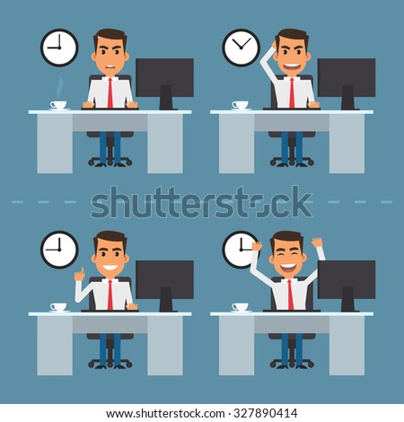 Man at table in different versions - stock vector
