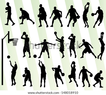 Man basketball vector background silhouette set - stock vector