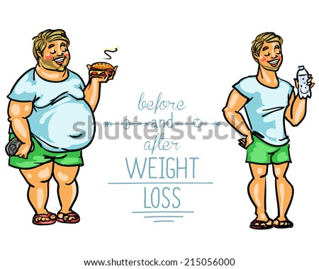 Man before and after weight loss. Cartoon funny characters - stock vector